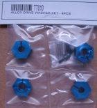 TT010 - Radmitnehmer 12mm Sechskant 5,5mm, blau eloxiert, 4 Stk