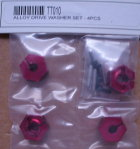TT010 - Radmitnehmer 12mm Sechskant 5,5mm, rot eloxiert, 4 Stk